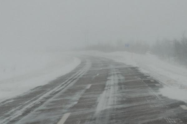 Натрассе Оренбург— Орск из-за метели введено ограничение движения транспорта